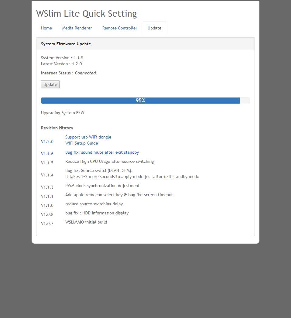 WSlim-LITEファームウェアアップデート V1.2.0
